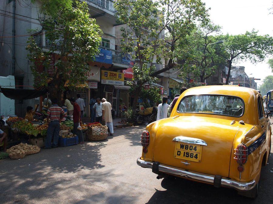 Ambassador, coche, India, taxi, calcuta, kalighat