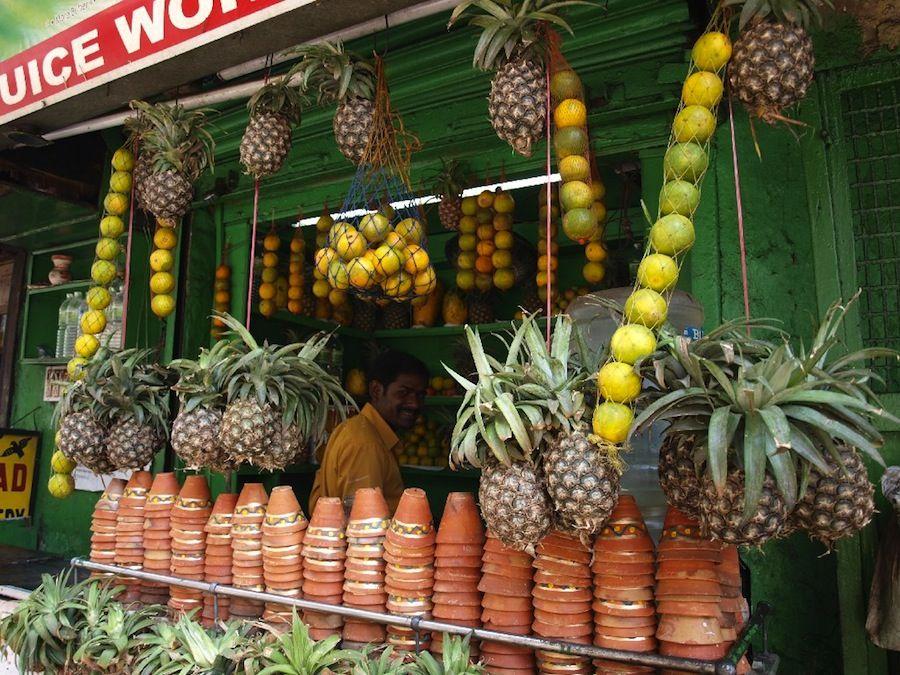 zumos, fruta, natural, India, bebidas, platillos, barato
