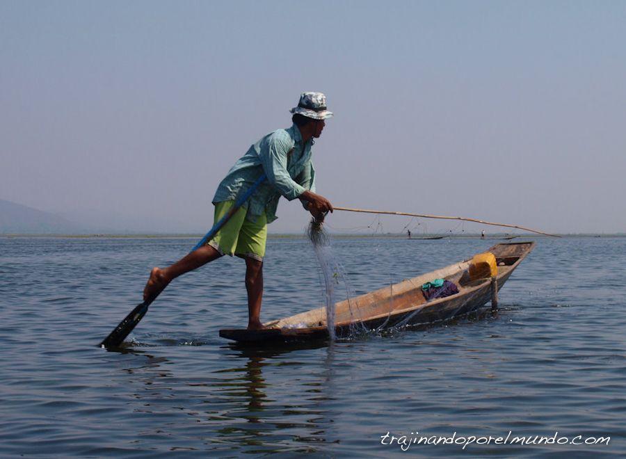 viaje, Myanmar, Birmania, lago, Inle, pescadores, barca