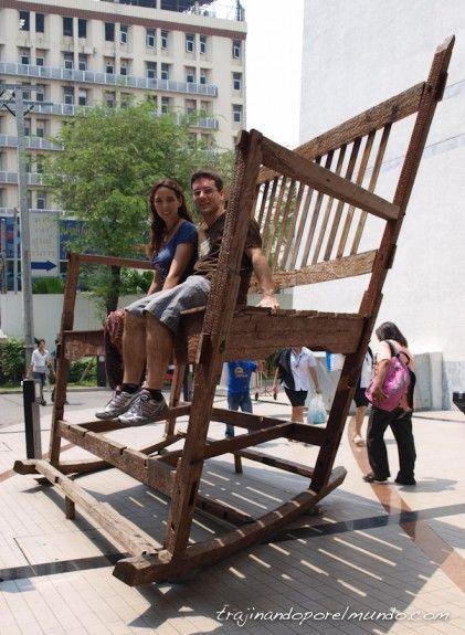 turistas, bangkok, mecedora, arte