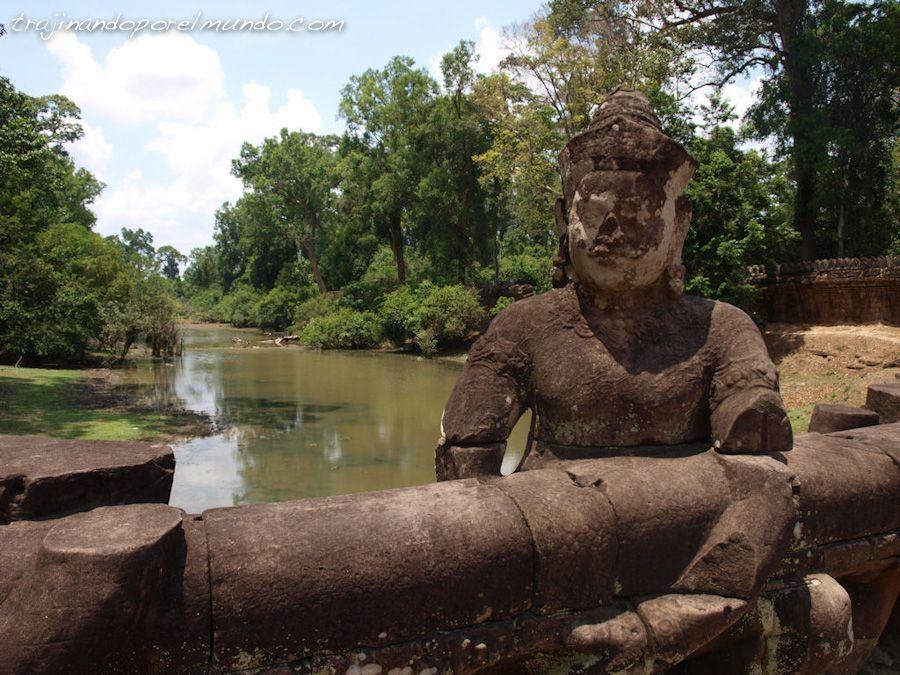 viaje, Camboya, arte, turismo, puente, rio, ruinas