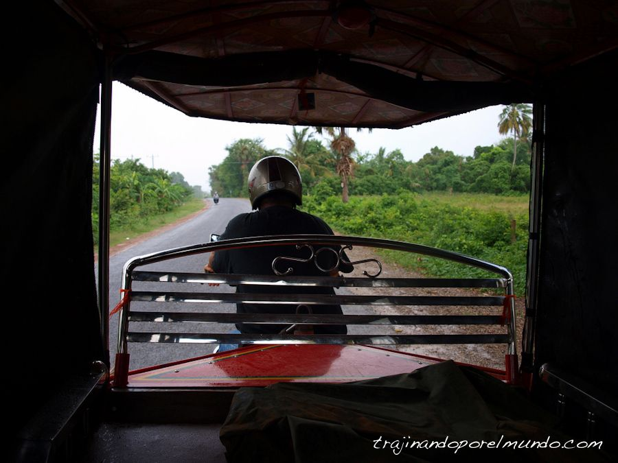 viaje, Camboya, tuk-tuk, transporte, lluvia, monzon