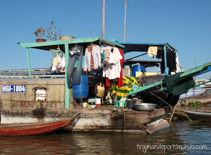 casa flotante, can tho, ropa, familia, vietnam