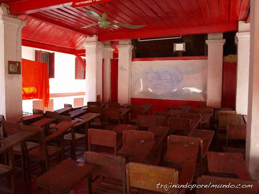 escuela, templo, budista, laos