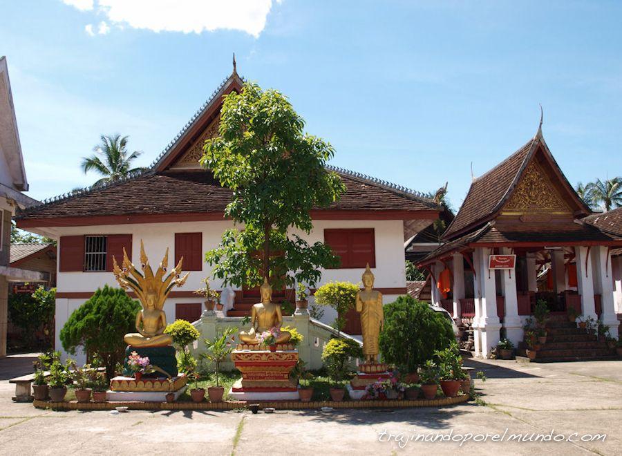 templo budista, buda, estatuas, laos