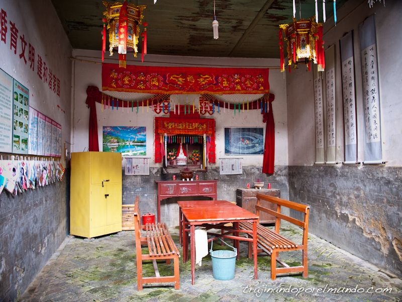 casas de china, patio, fujian, rural, pueblos