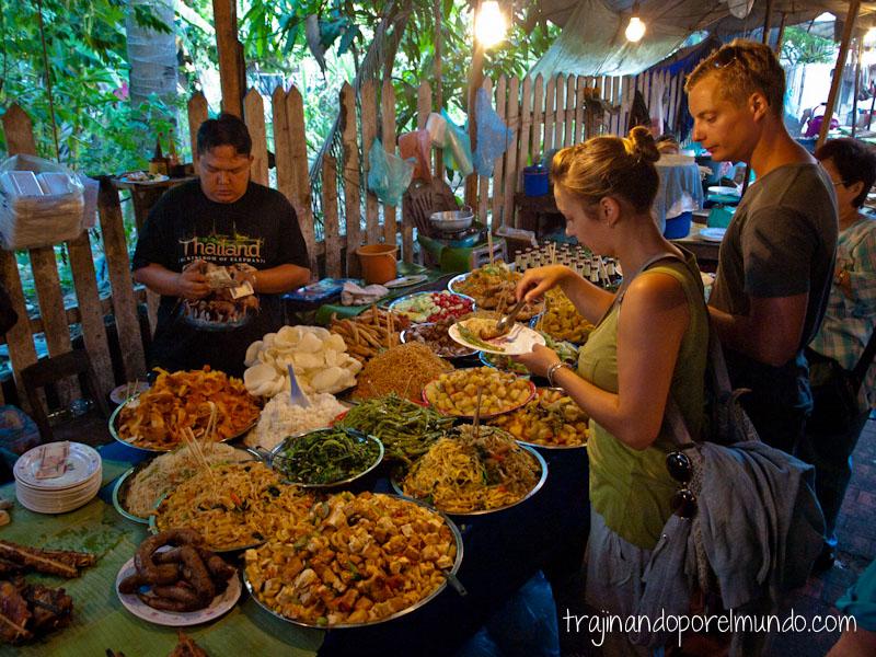 comer barato, laos, luang prabang, vegetariano