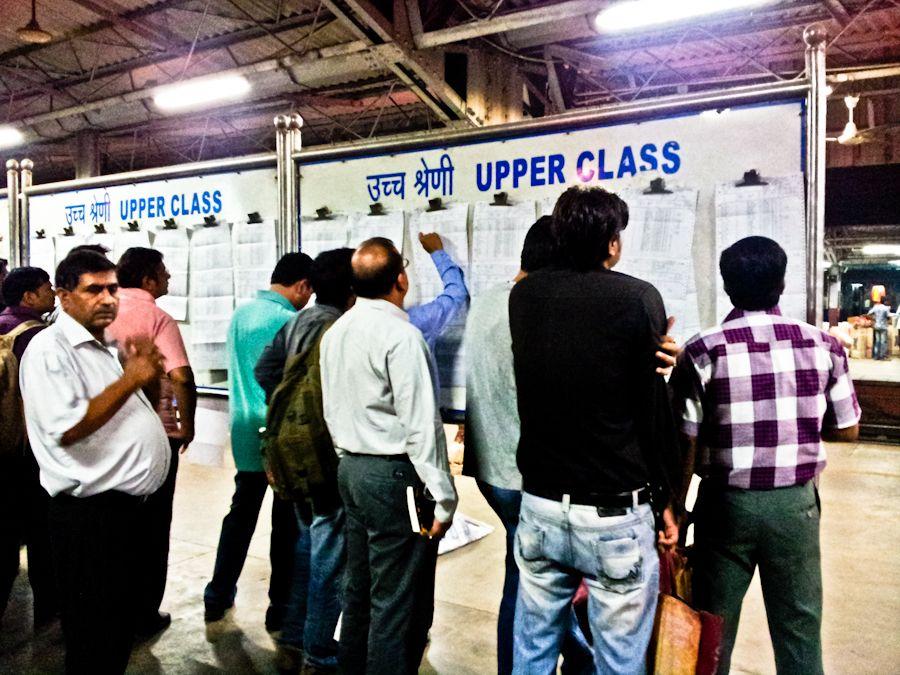 Waiting list, reservation chart, viajar en tren India