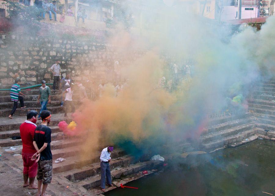 India, fiesta, templo, colores, humo, musica, celebracion, religion