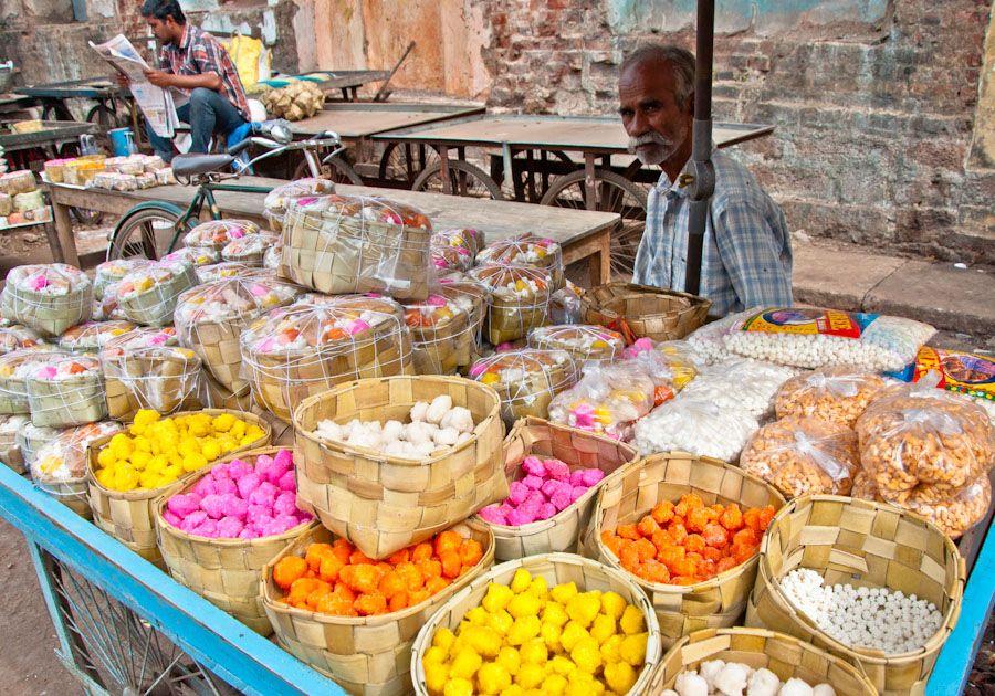 Prasad, dulces, sagrado, templo, India