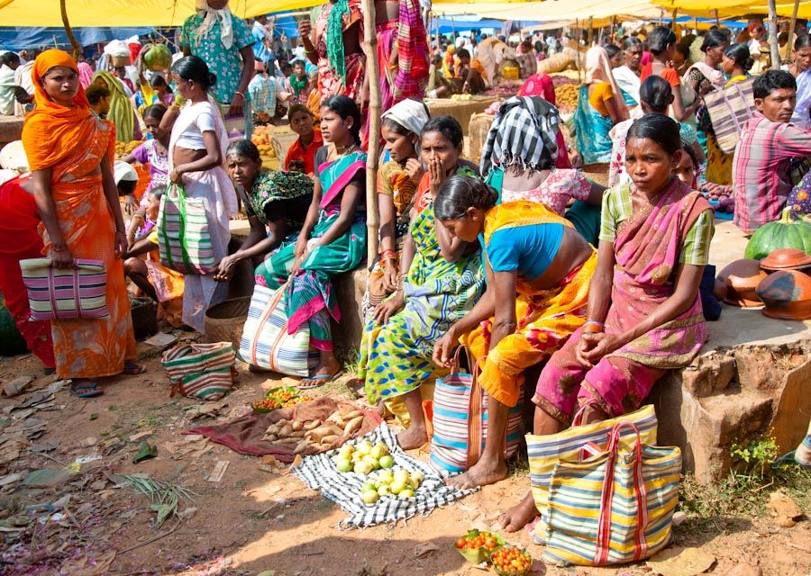 India, tribus, adivasi, mercado, viajar, Chhattisgarh