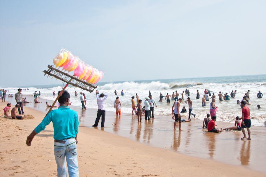 India, viaje, mejores playas, Orissa, bañarse, indios