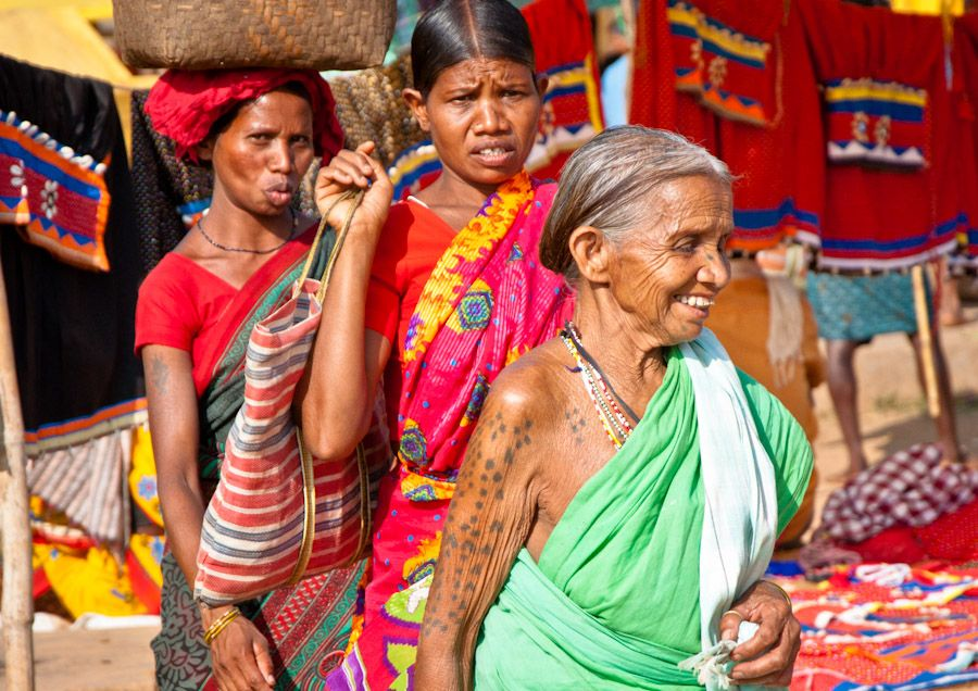 tattoo, adivasi, India, mercados, Jagdalpur