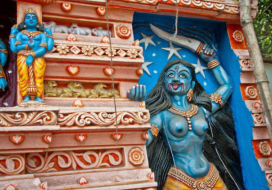 Kali, diosa, India, Orissa, azul, templo