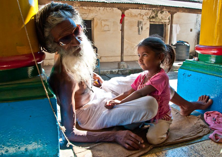 viaje, India, Baba, sadhu, nina