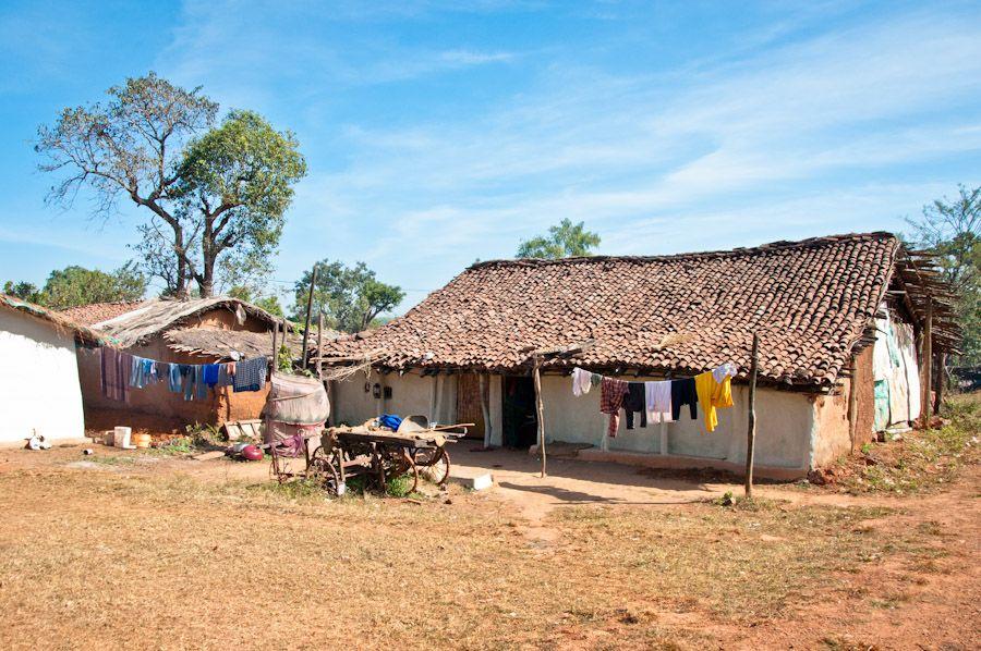 viaje, India, rural, pueblo, casas