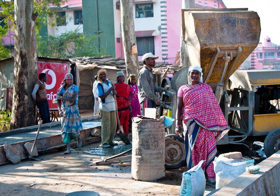 viaje, India, mujeres, obra, construccion, trabajo