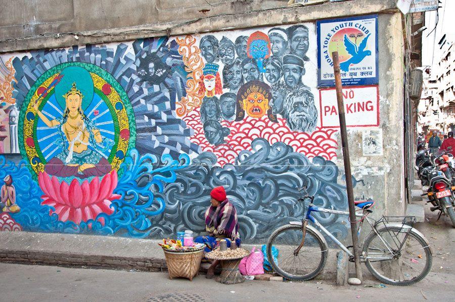 bicicleta, graffiti, vendedora, nepal, arte callejero