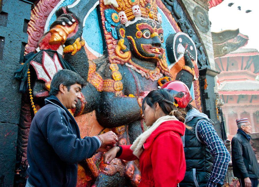 nepla, hinduismo, Durbar, square, kali, diosa, religion