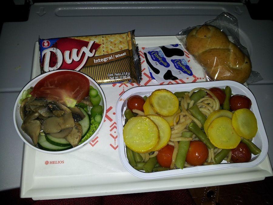 aerolinea, comida, vegetariana, avion