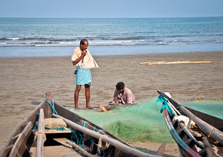India, Andaman, Long Island, pescadores, redes, barcas