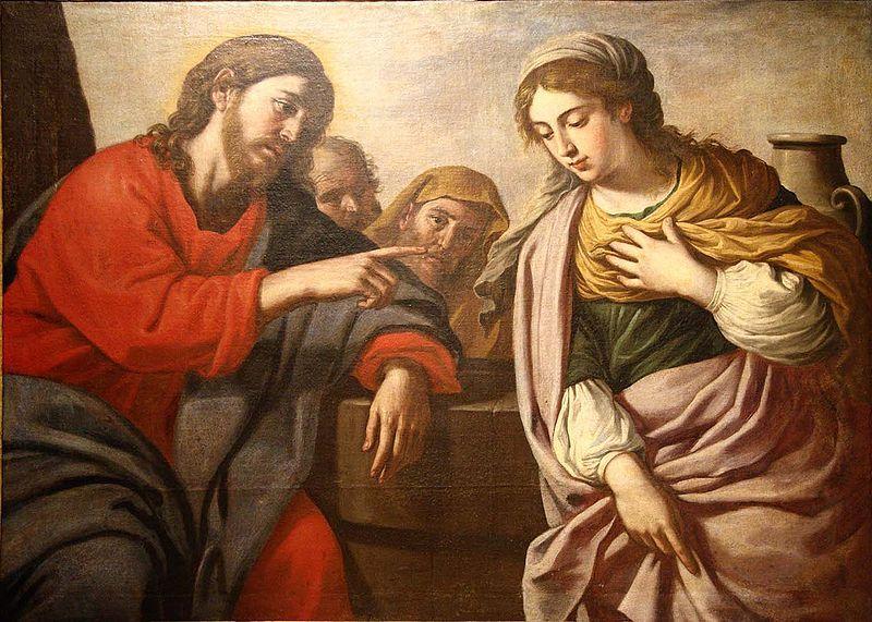 cristo, samaritana, stefano, erardi, cuadro, pintura