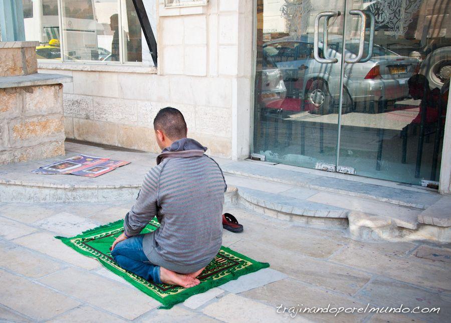 musulman, oracion, alfrombra, Ramallah, Palestina