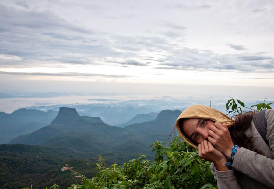 pico de adan, sri lanka, frio, abrigo, montaña, amanecer