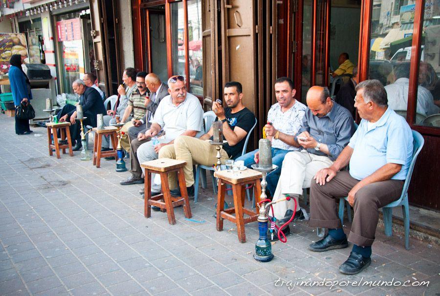 palestina, Ramala, narguile, shisha, fumar, hombres, arabes