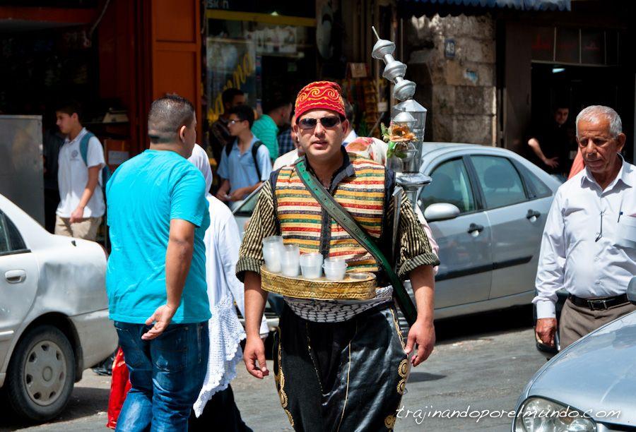 Palestina, viaje, ramala, te, cafe, vendedor, traje tipico