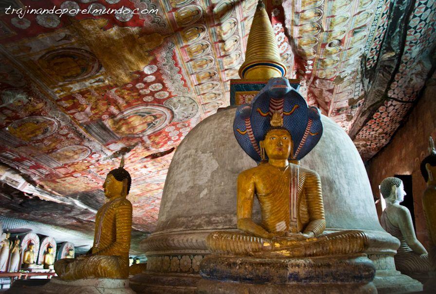 Sri Lanka, Dambulla, cuevas, Buda, estatuas, pintura