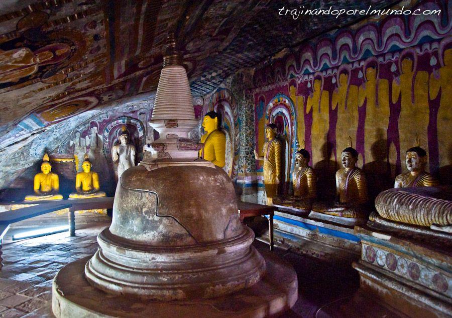 viaje, Dambulla, cuevas, pinturas, arte, patrimonio, estupa