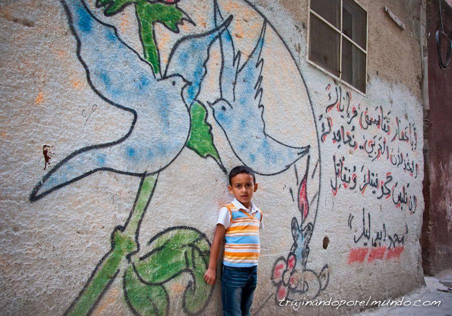 Palestina, refugiados, niños, graffiti, balata, nablus