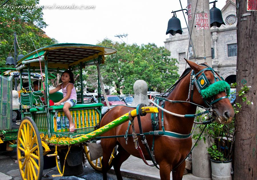 Manila, Filipinas, colonial, transporte, carros, caballos