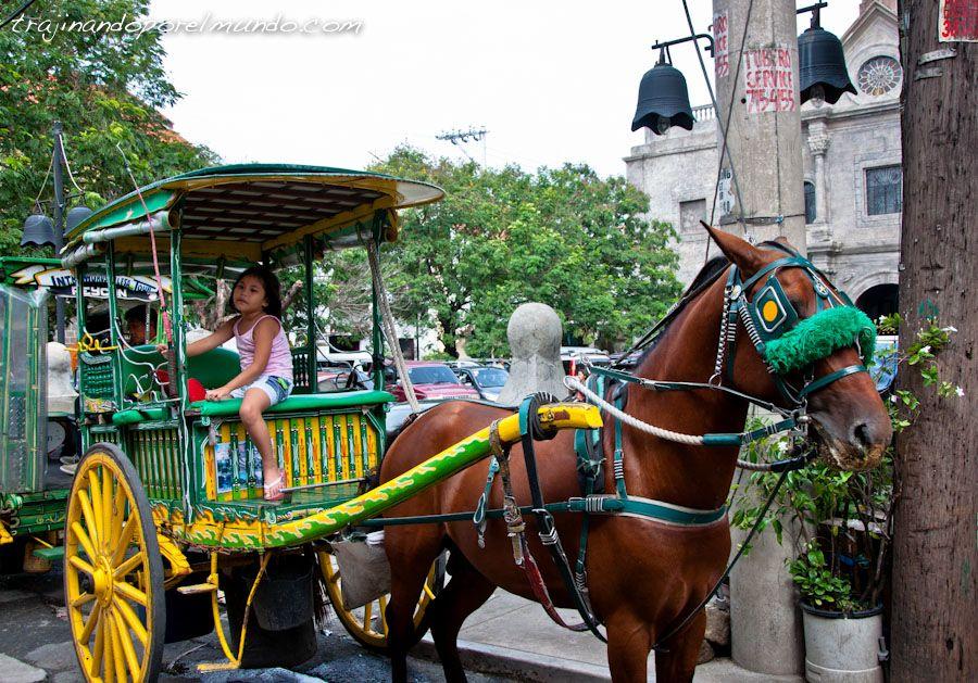 Manila, Filipinas, colonial, transporte, carros, caballos