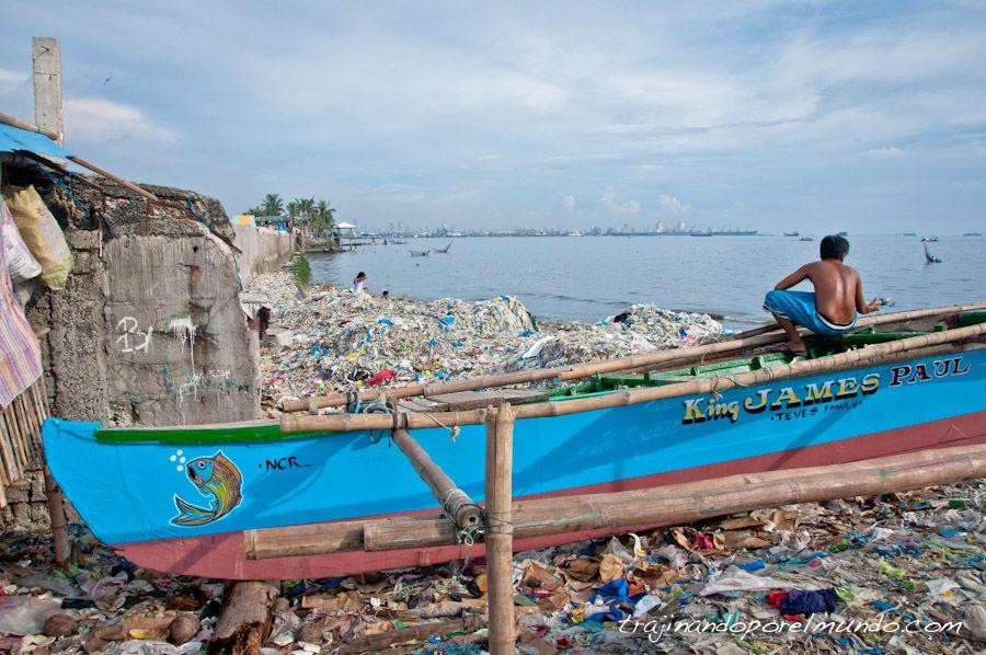 Manila, puerto, mar, navotas, pescador, barco, vertedero, slum
