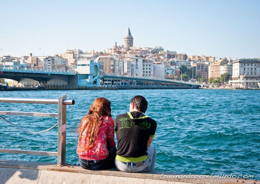 viaje, Estambul, Turquía, Torre Galata, Bosforo, puente