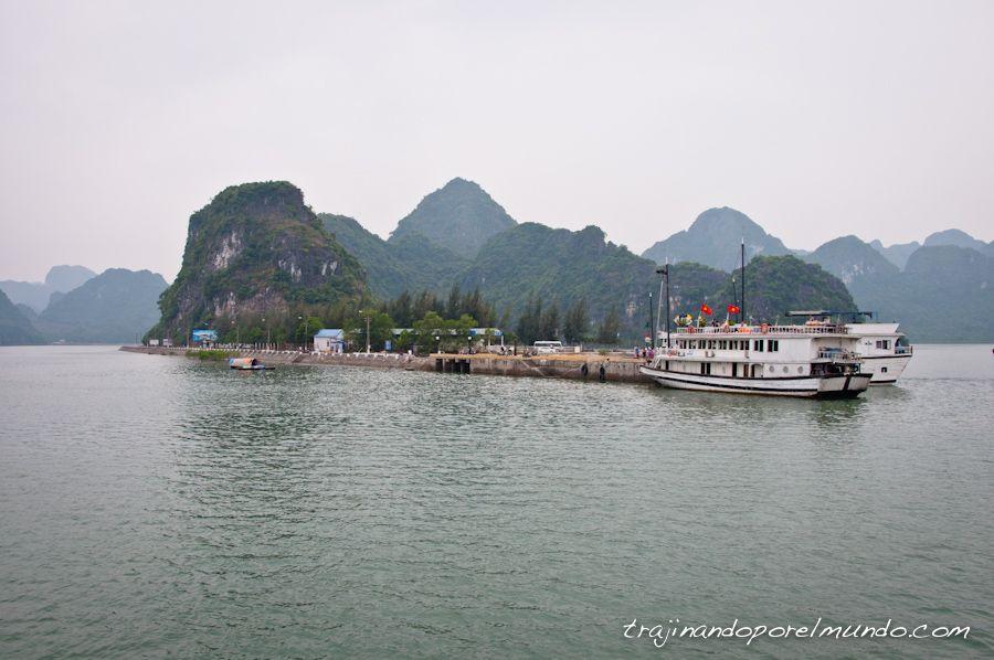 halong, bahia, isla, cat ba, puerto, barcos, actividades