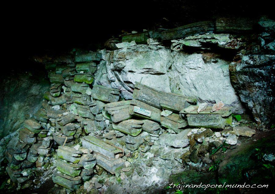 viaje, Filipinas, Lumiang, cueva, Sagada, ataud