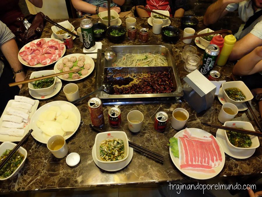 Comida china vegetariana: hot pot