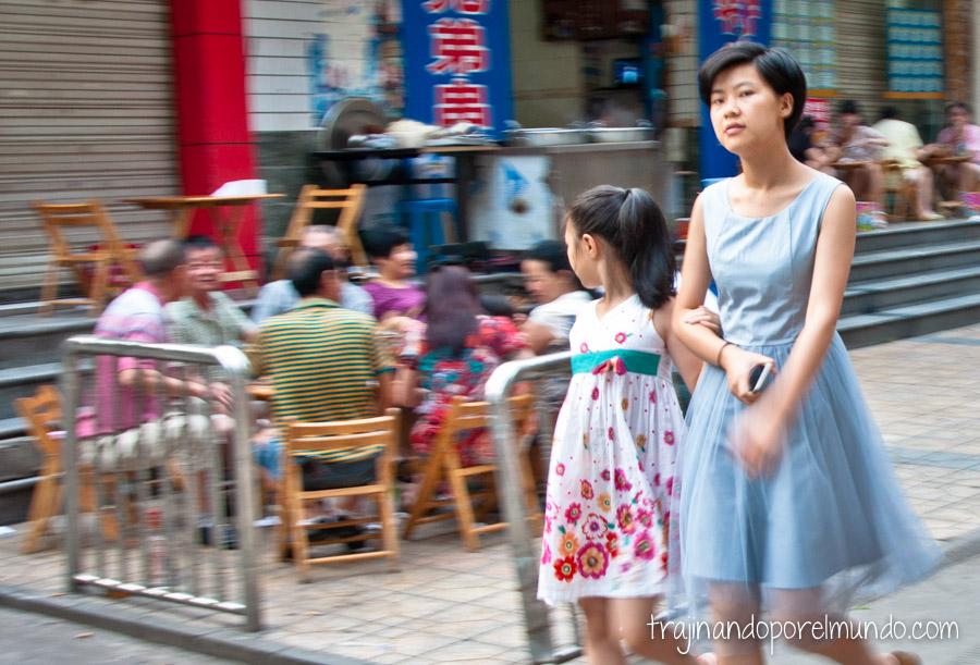 Habitantes de Chengdu, China