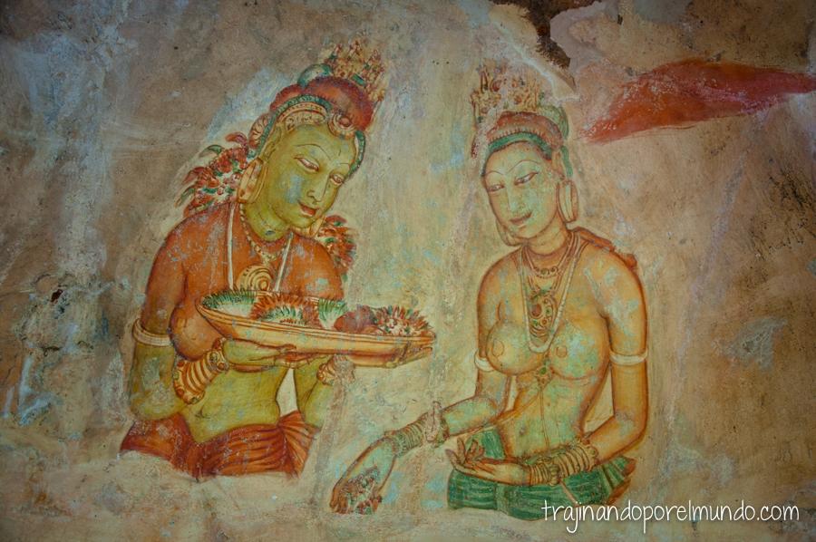 Frescos de las Doncellas de Sigiriya, en Sri Lanka 2