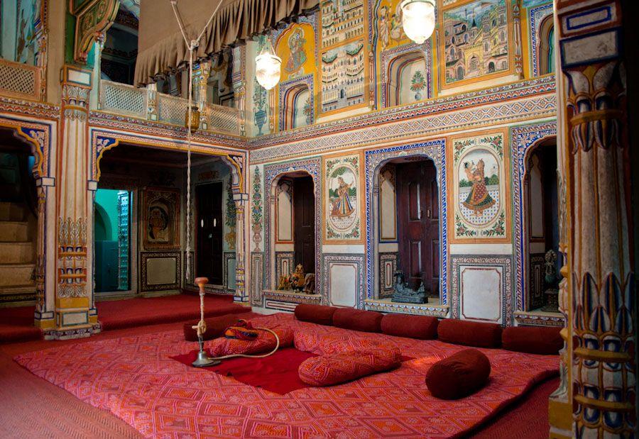 Interior del Podar Haveli Museum, en Nawalgarh